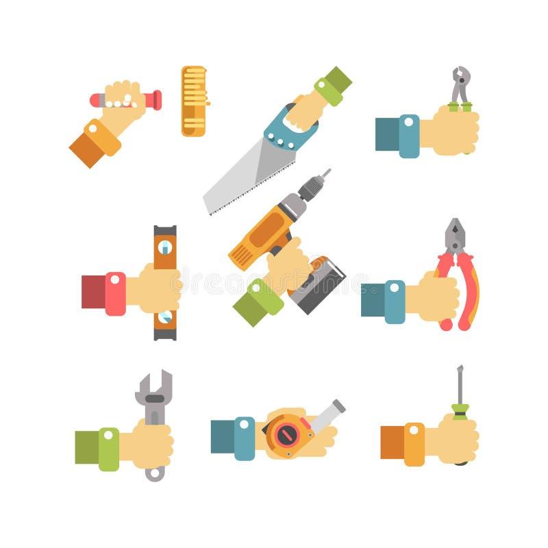 Budynku i naprawiania narzędzia w kreskówek istotach ludzkich wręczają ilustracje ustawiać ilustracja wektor