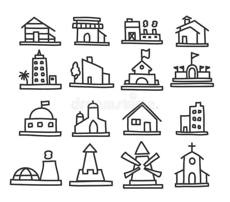 Budynku i nieruchomości ikony wręczają patroszonego kreskowej sztuki wektoru set ilustracji
