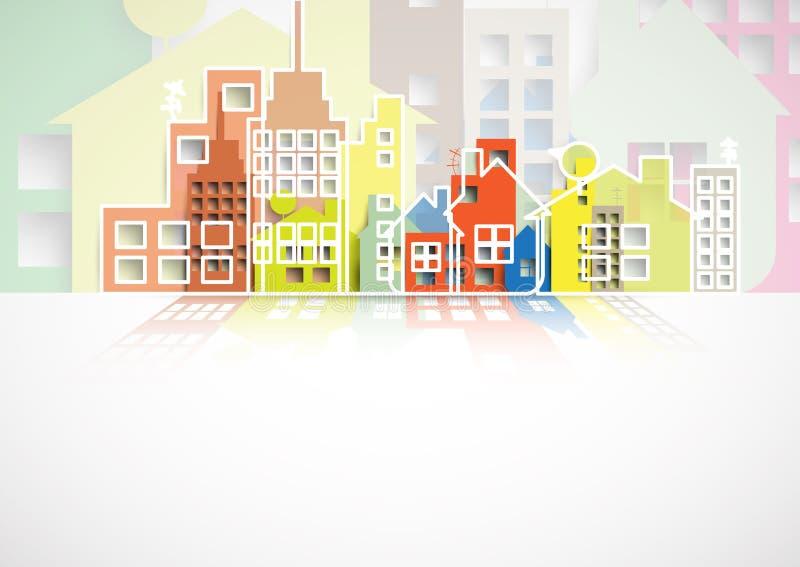 Budynku i nieruchomości miasta ilustracja abstrakcyjny tło ilustracja wektor