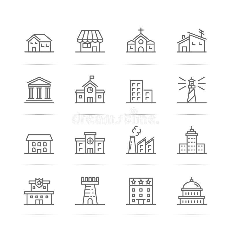 Budynku i nieruchomości wektoru linii ikony royalty ilustracja