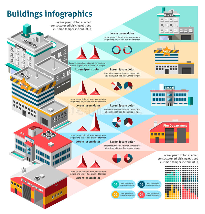 Budynku Infographics set royalty ilustracja