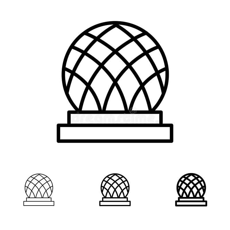 Budynku, Kanada, miasta, kopuły czerni linii ikony set, Śmiały i cienki ilustracja wektor