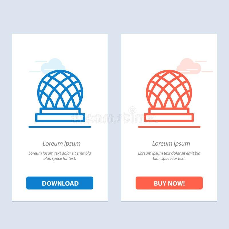 Budynku, Kanada, miasta, kopuły sieci Widget karty szablon, Błękitnej i Czerwonej ściągania i zakupu Teraz royalty ilustracja