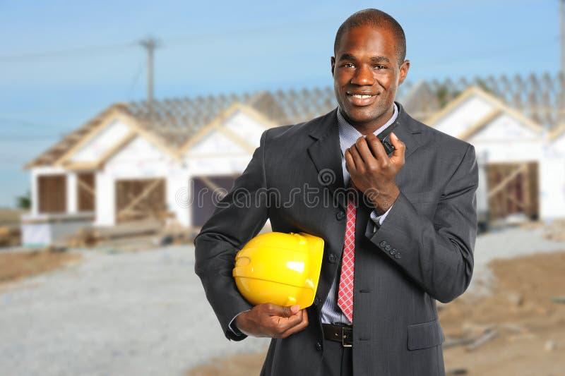 Budynku kierownik przy budową obraz stock