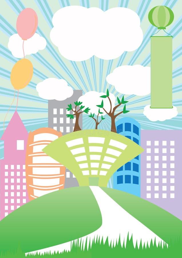 budynku kraju eps zieleni ziemia royalty ilustracja