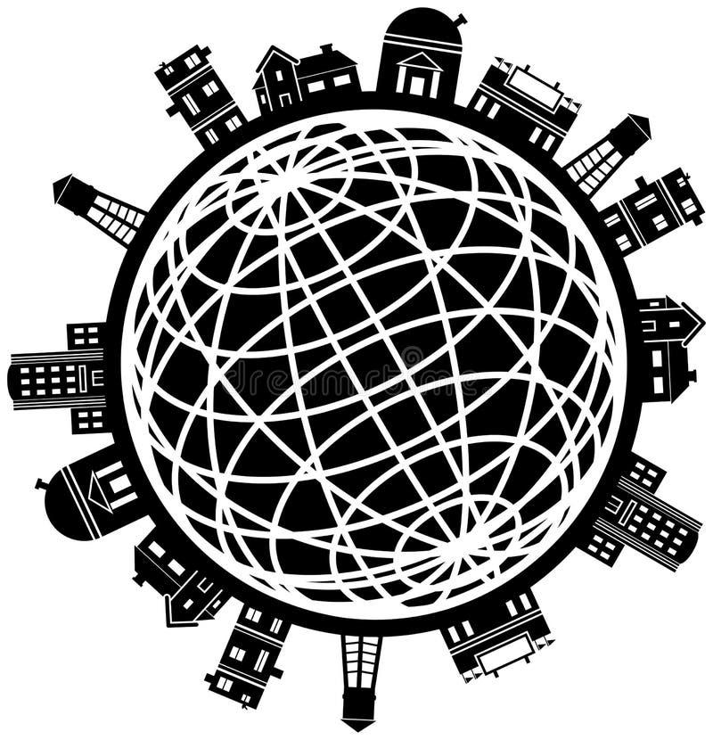 budynku kuli ziemskiej ikony set royalty ilustracja