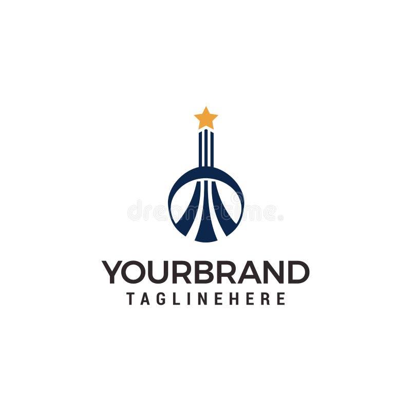 Budynku logo z gwiazdą na odgórnym logo szablonie royalty ilustracja