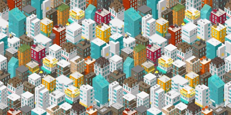 Budynku miasta bezszwowy wz?r Isometric odg?rny widok Wektorowa grodzka miasto ulica Barwiący stylowy prostokątny tło wysoce ilustracji