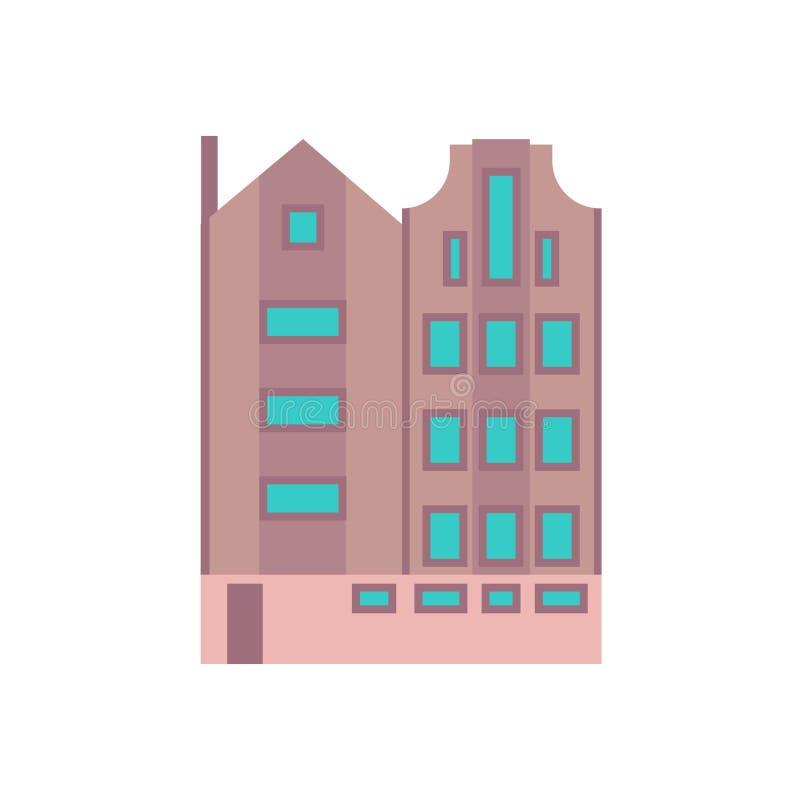 Budynku miasta biznesowego biura ikony architektury nowo?ytna wektorowa budowa Miastowy zewn?trzny punktu zwrotnego drapacz chmur ilustracji
