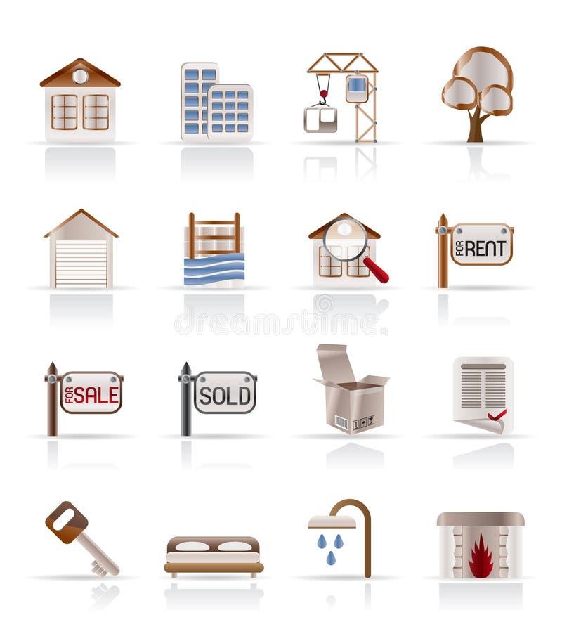budynku nieruchomości ikony istne ilustracja wektor