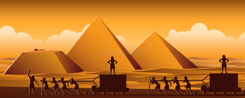 Budynku ostrosłup w Egipt w antycznym czasie używa mężczyzn być niewolniczy cały dzień, kreskówki wersja ilustracji