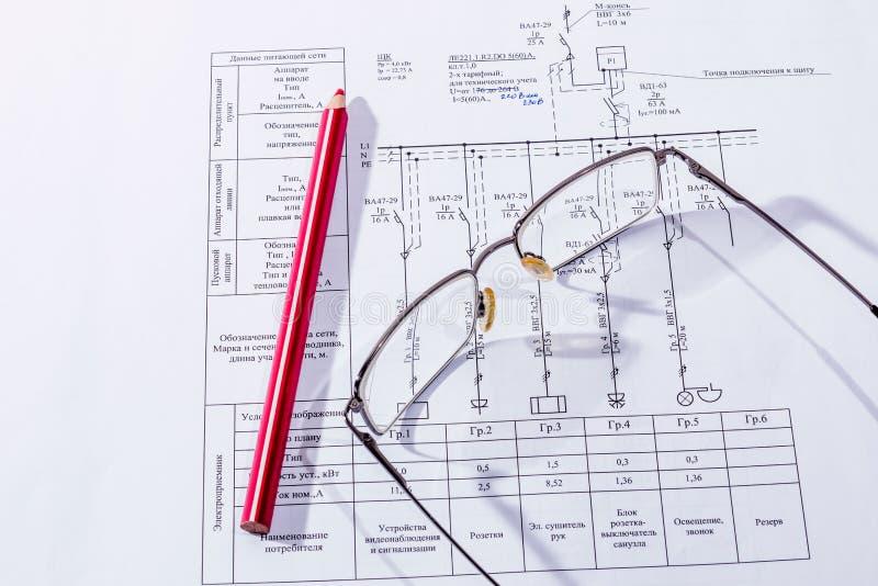 Budynku plan, szkła i ołówek, obraz royalty free