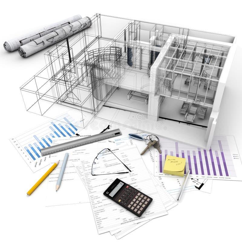 Budynku projekta proces ilustracji