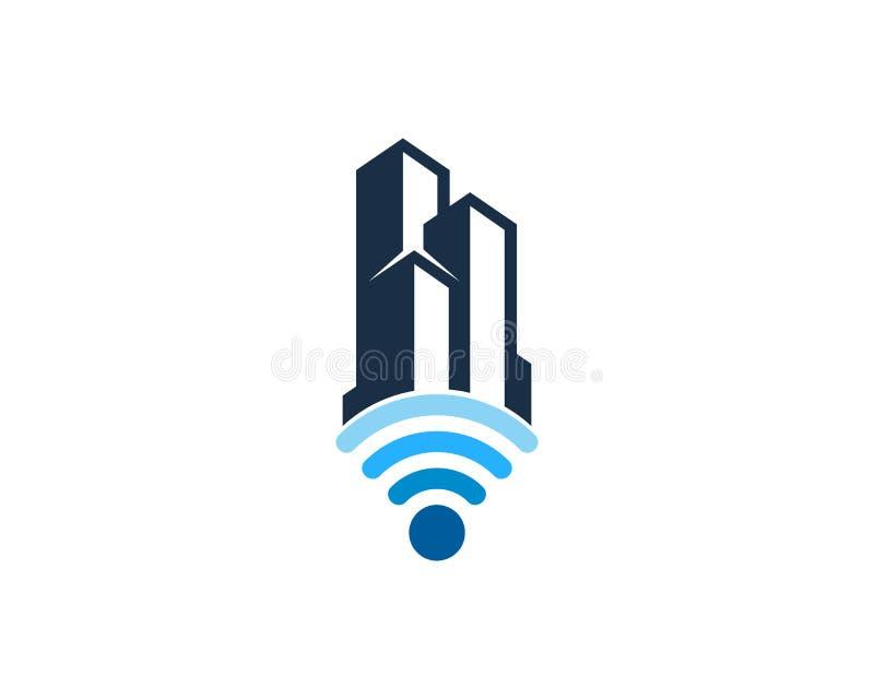 Budynku Wifi ikony loga projekta Biurowy element royalty ilustracja