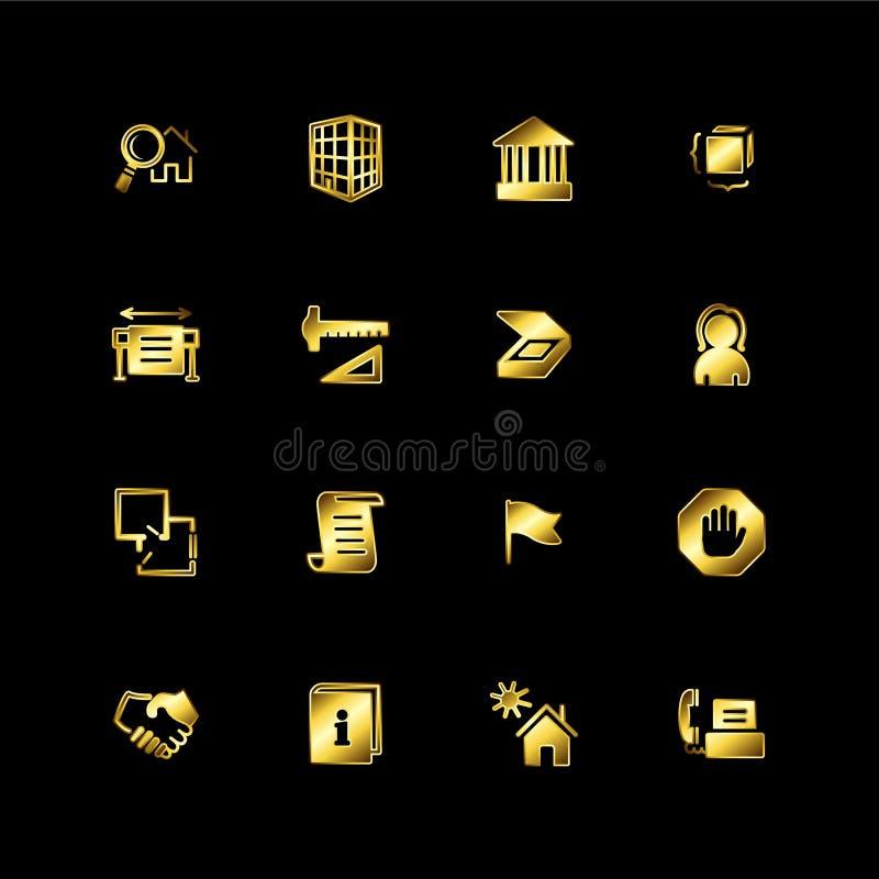 budynku złota ikony royalty ilustracja