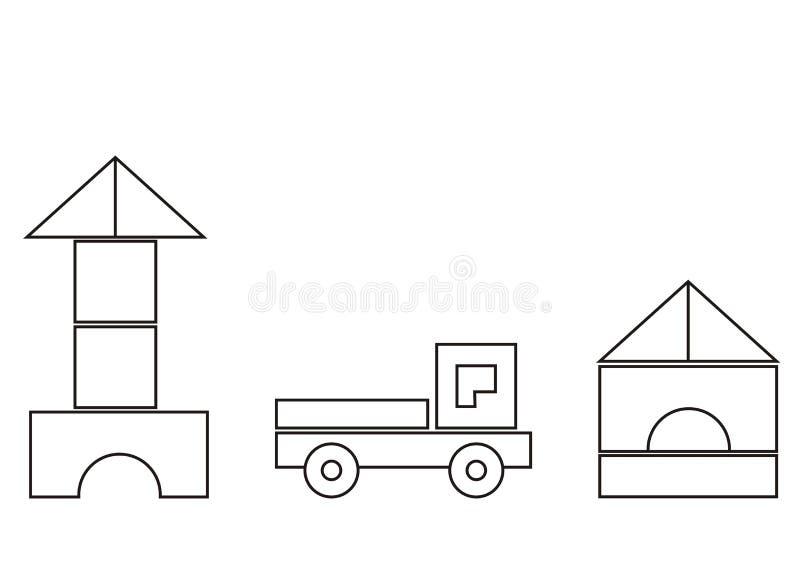 Budynku zestaw, podstawowi kształty, kolorystyki książka dla dzieci, wektorowa ikona ilustracji