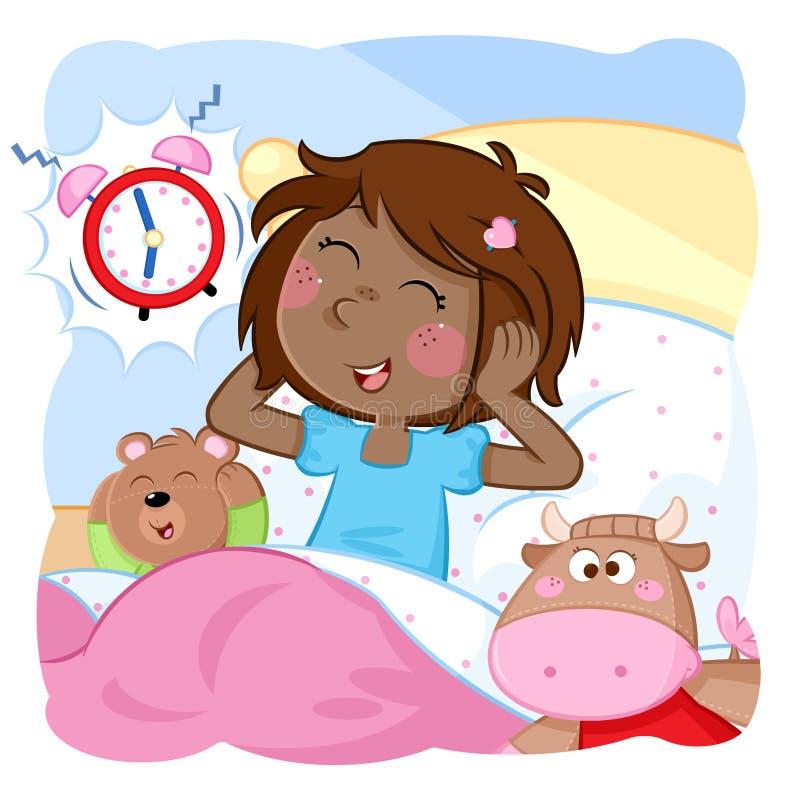 Budził się małej dziewczynki dzień dobry - czas dla szkoły - Dzienna rutyna - royalty ilustracja