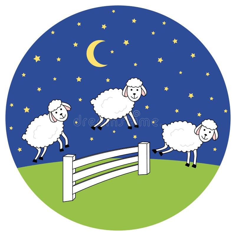 Budzi przy nocą nie licząc owce Bezsenność ilustracyjny bąbel ilustracji