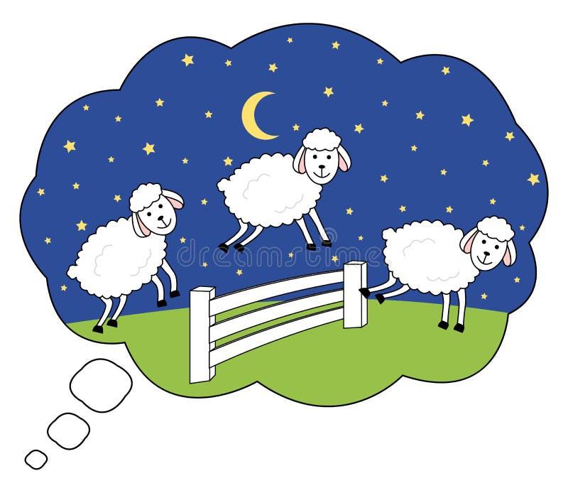 Budzi przy nocą nie licząc owce Bezsenności ilustraci sen bąbel royalty ilustracja