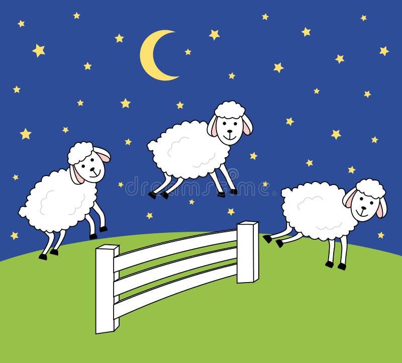 Budzi przy nocą nie licząc owce Bezsenności ilustracja ilustracja wektor