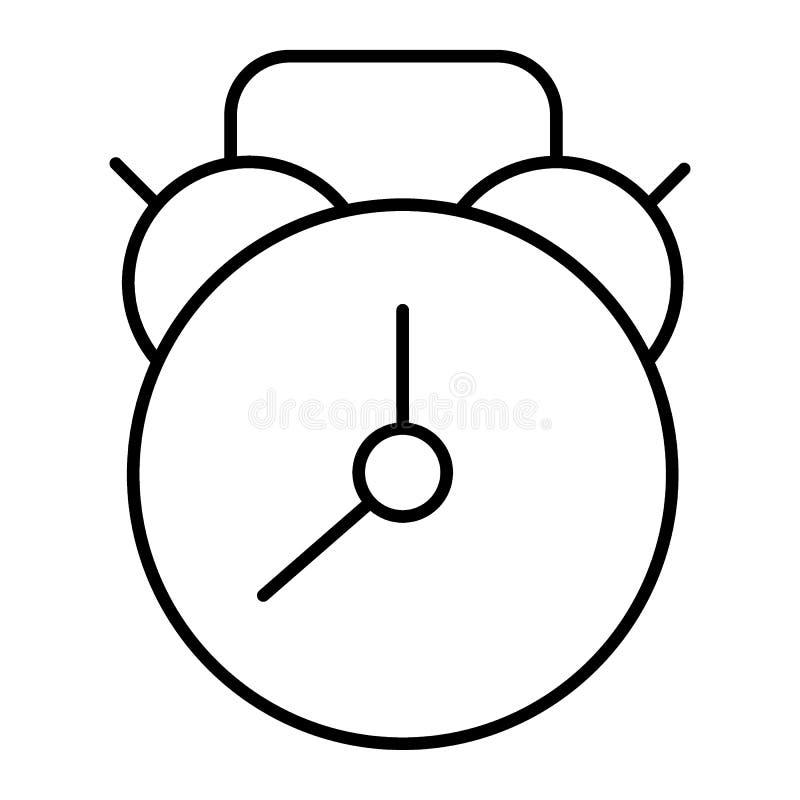 Budzik cienka kreskowa ikona Zegarek wektorowa ilustracja odizolowywająca na bielu Czasu konturu stylu projekt, projektujący dla  royalty ilustracja