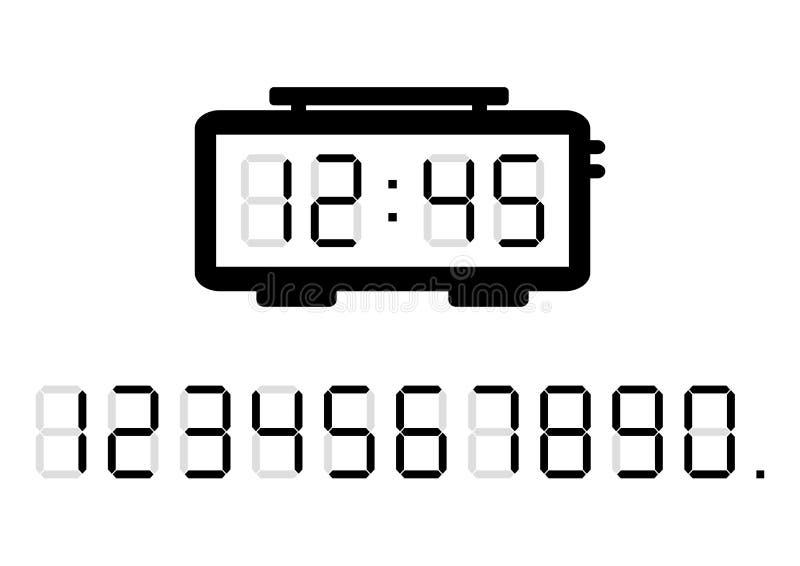 Budzik i cyfrowe liczby również zwrócić corel ilustracji wektora ilustracja wektor