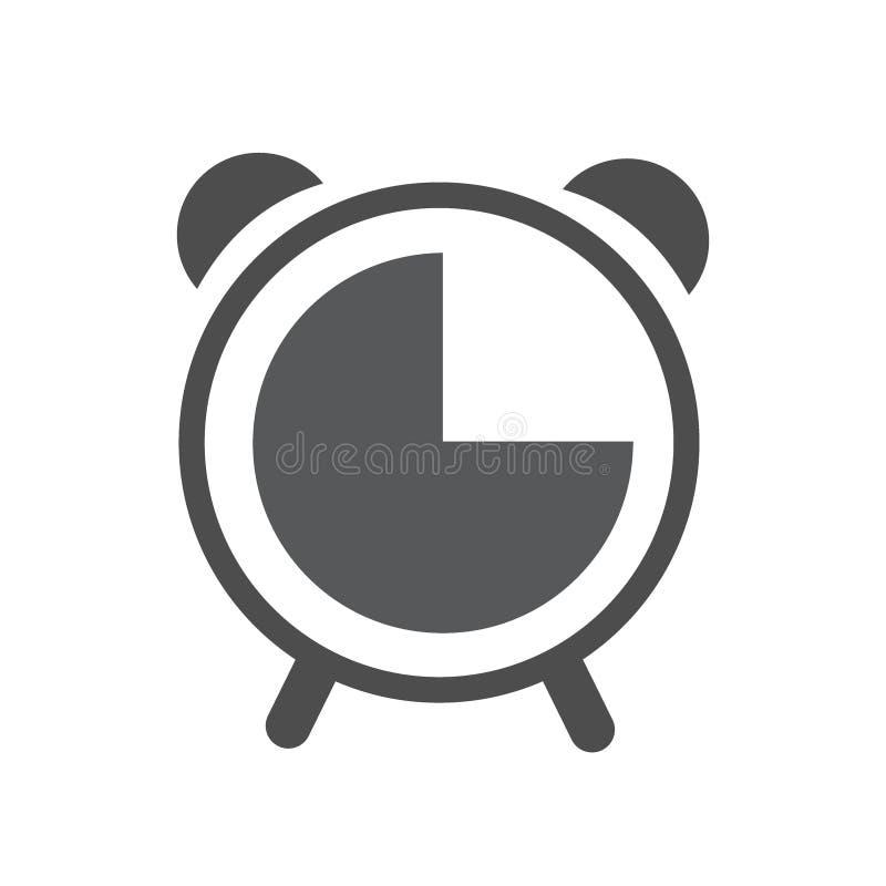 Budzik kreskowa ikona, kontur i piktogram odizolowywający na bielu, wypełniający wektoru znaka, liniowego i pełnego, logo ilustracji