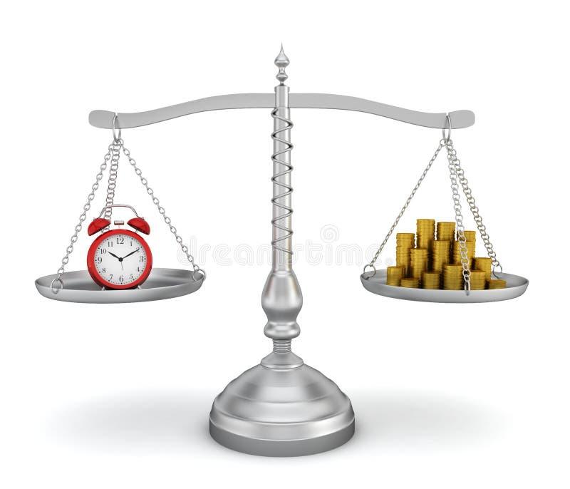 Budzika i monety sterta dalej waży ilustracji