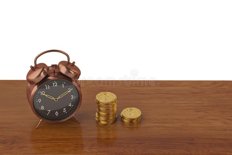 Budzika i złocistej monety sterty na drewnie wsiadają 3D ilustrację ilustracja wektor