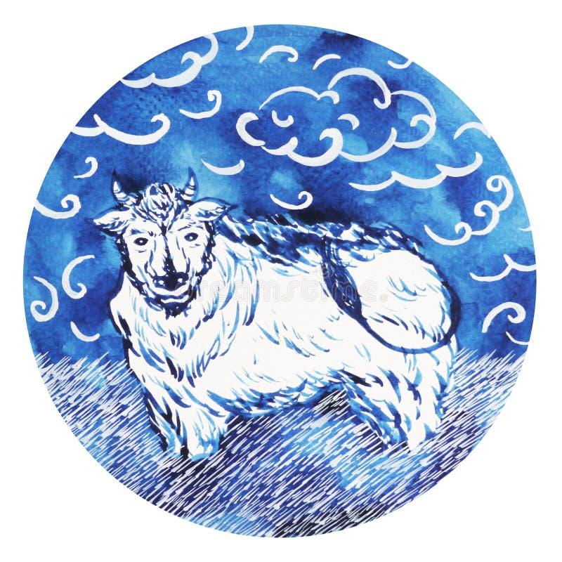 Bue, buon anno cinese dello zodiaco del toro, acquerello che dipinge minimo illustrazione di stock