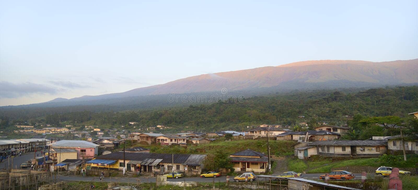 Buea Mount Cameroon, morning. Mount Cameroun, Buea, Old town, December2012 royalty free stock image