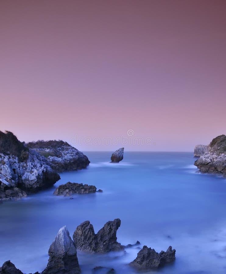 Buelna strand, Asturias, Spanien. arkivfoto