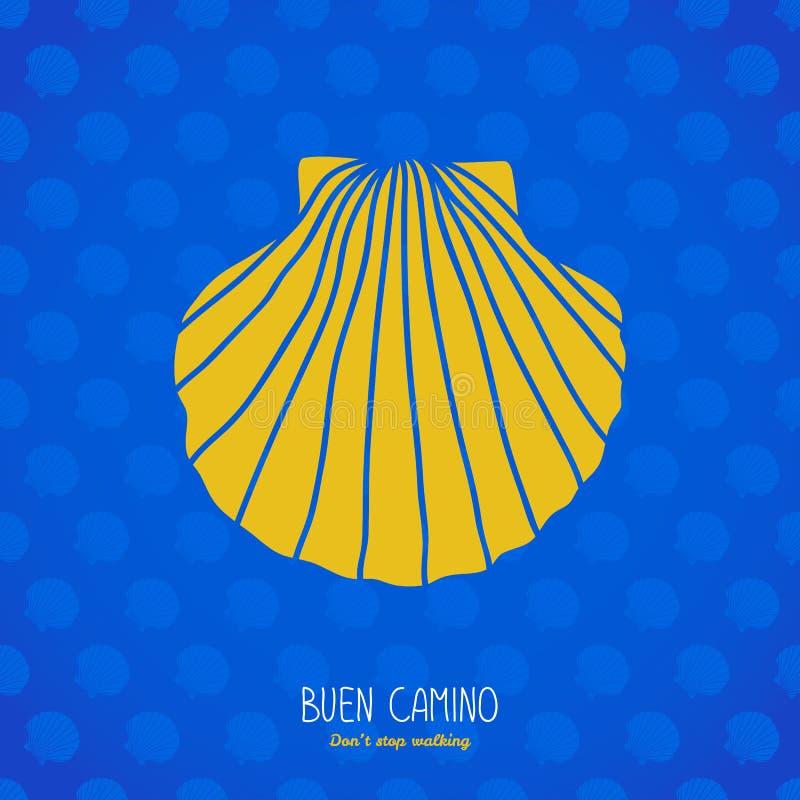 Buen Camino!在蓝色背景的黄色壳 皇族释放例证