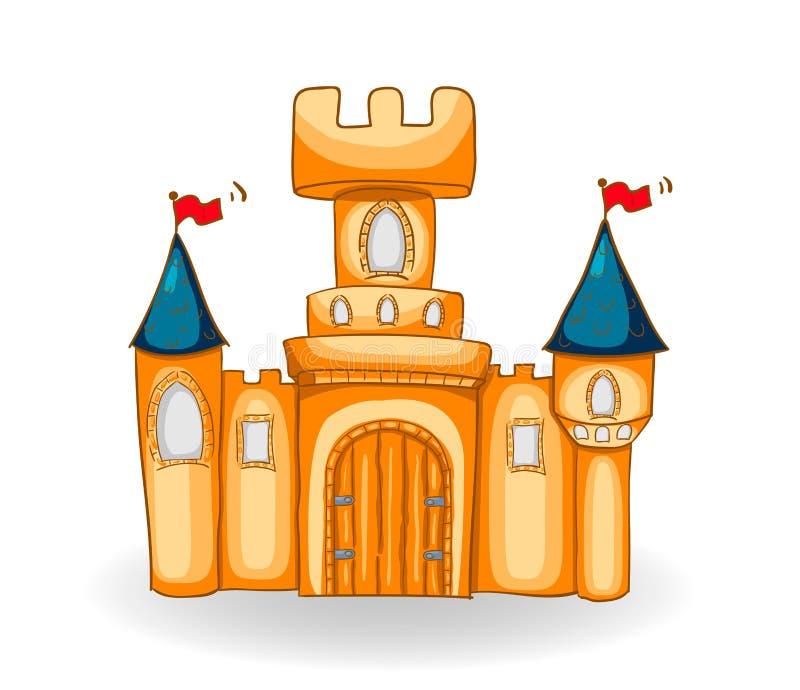 Buen castillo del cuento de hadas con la sombra stock de ilustración