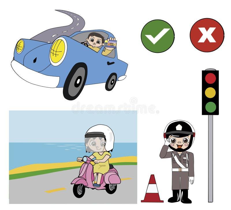 Buen ejemplo del conductor y de la policía ilustración del vector
