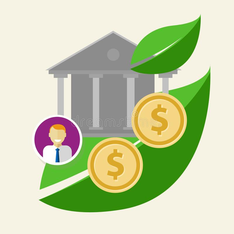 Buen gobierno de la ecología de las monedas de la ética empresarial verde corporativa del negocio stock de ilustración