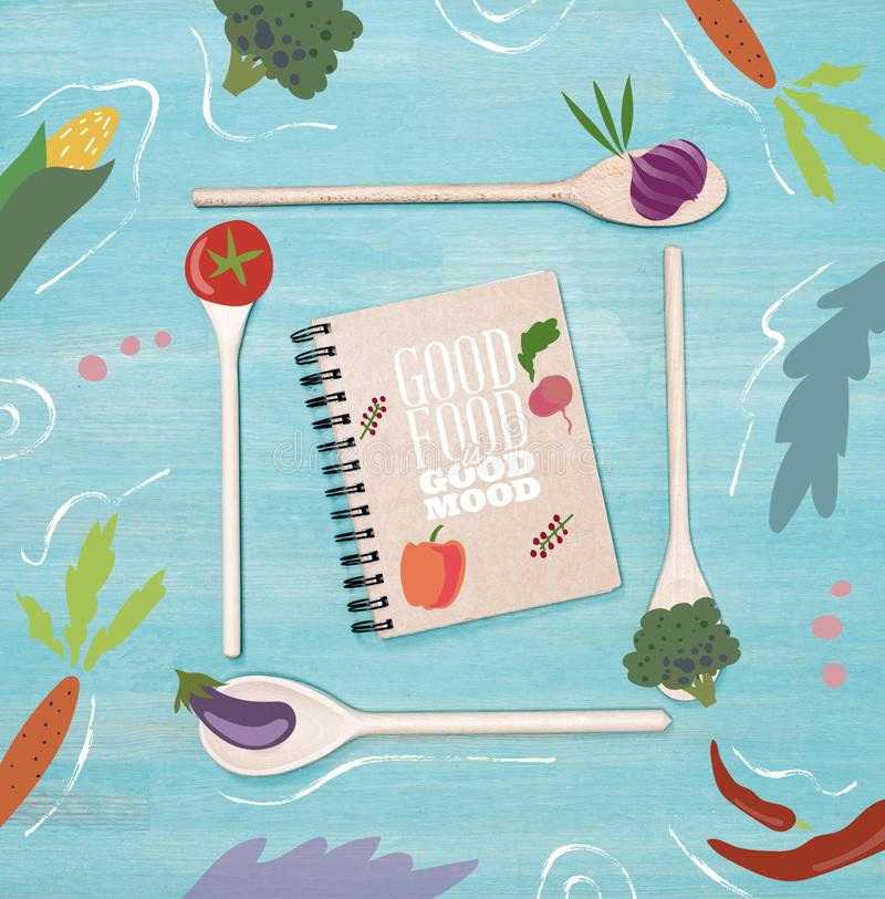 Buen humor de la buena comida stock de ilustración