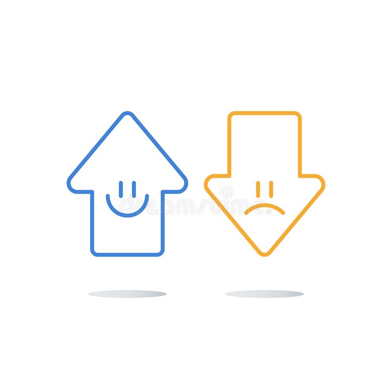 Buen o mún del cliente estudio feliz o infeliz de la experiencia, evaluación del grado de calidad del servicio, encuesta sobre la ilustración del vector