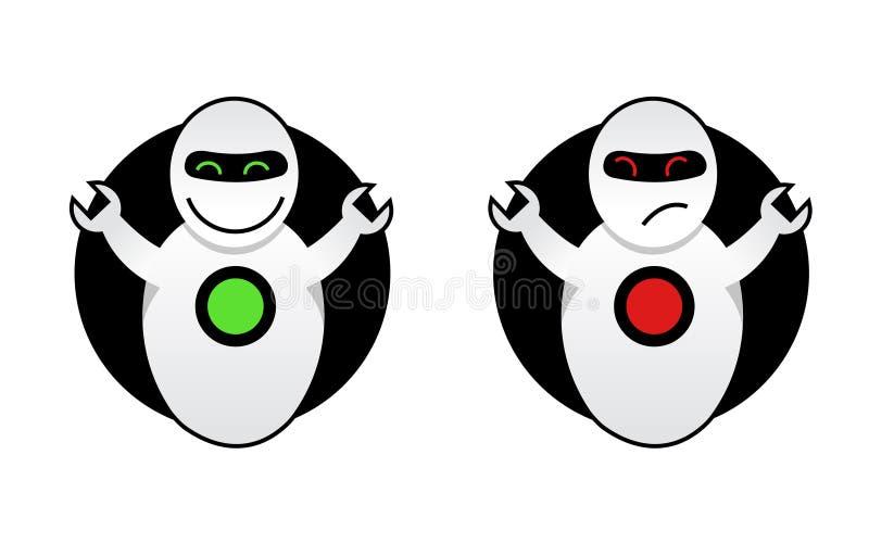 Buen robot y mún robot ilustración del vector