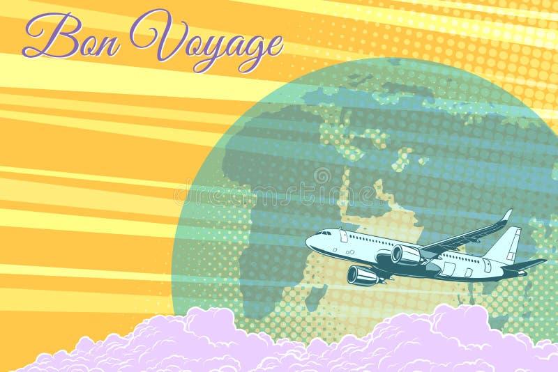 Buen viaje retro del fondo del vuelo del turismo plano del viaje stock de ilustración