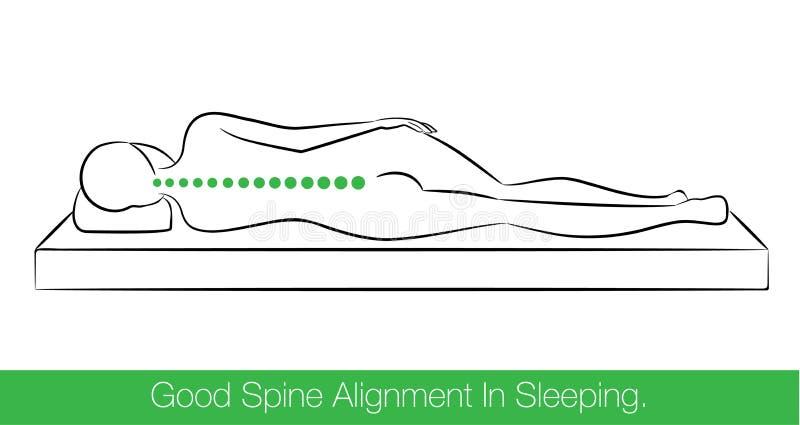 Buena alineación de la espina dorsal en dormir stock de ilustración