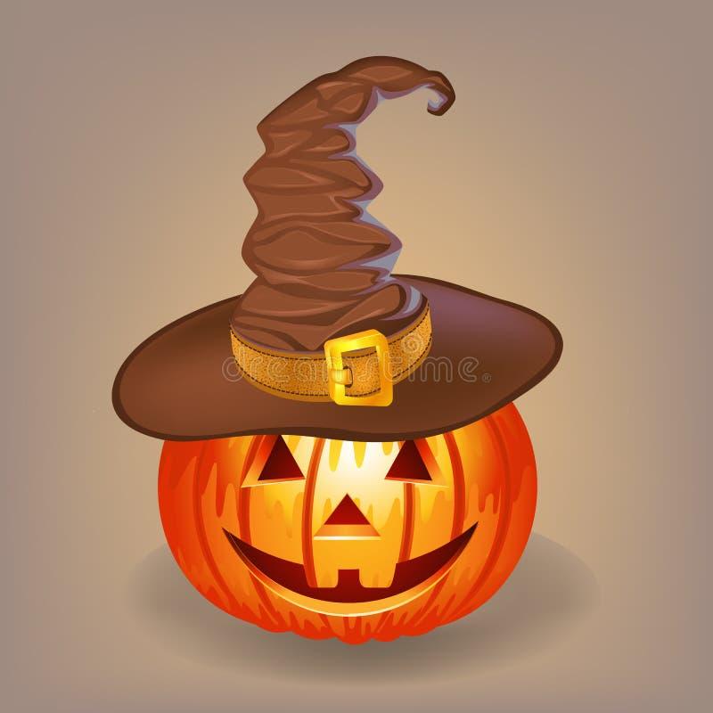 Buena calabaza en un sombrero de la bruja para Halloween fotografía de archivo