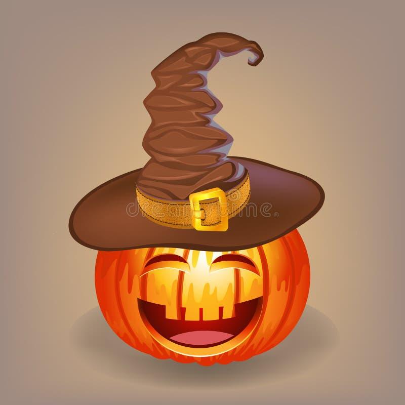 Buena calabaza en un sombrero de la bruja para Halloween fotos de archivo libres de regalías