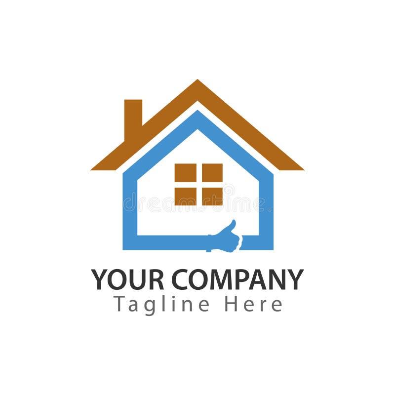 Buena casa Logotipo abstracto de la casa - casa azul con el pulgar libre illustration