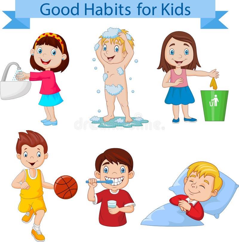 Buena colección de los hábitos para los niños stock de ilustración