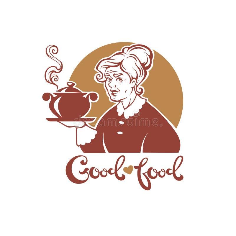 Buena comida, retrato del vector de la abuela preciosa y sopa a casa hecha ilustración del vector