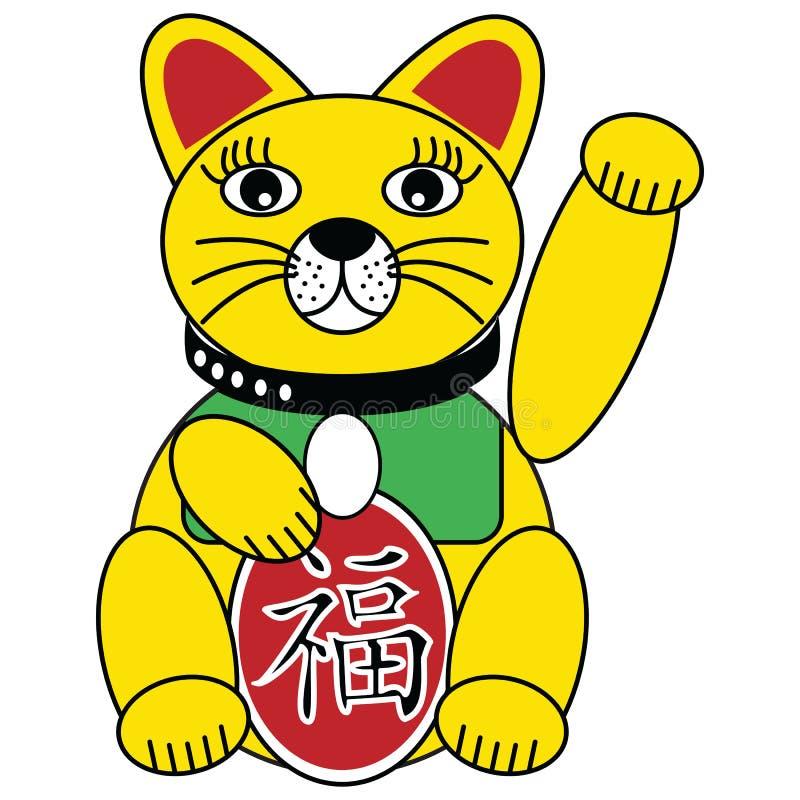 Buena gato chino de la fortuna y de la suerte en vida rica de simbolización roja y verde del oro y buena fortuna stock de ilustración