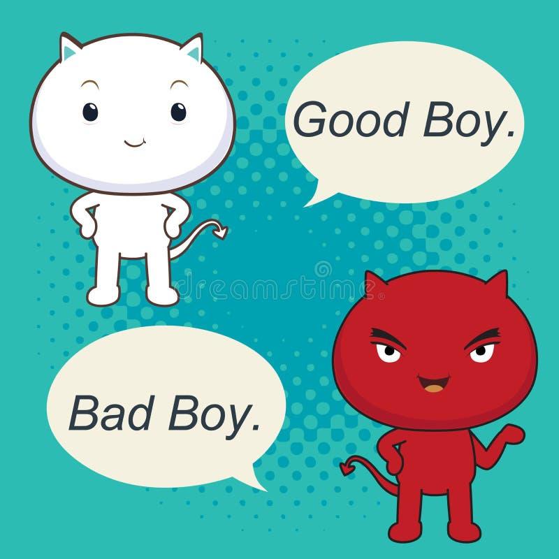 Buena historieta del carácter del muchacho del chico malo stock de ilustración