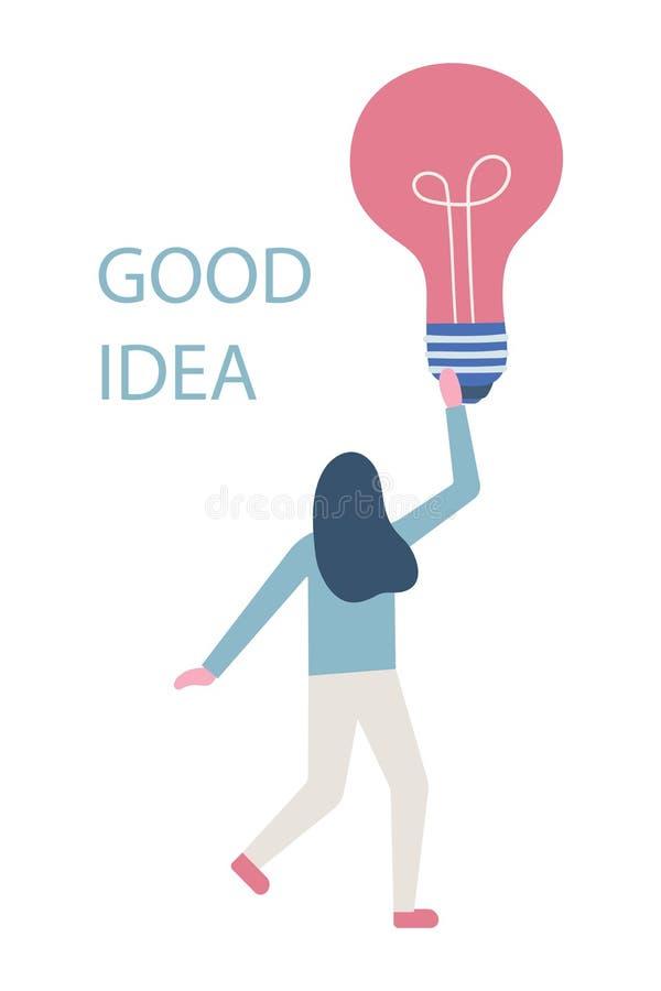 Buena idea Tenencia/demostración/exhibición de la mujer de negocios de una bombilla estilo plano moderno stock de ilustración