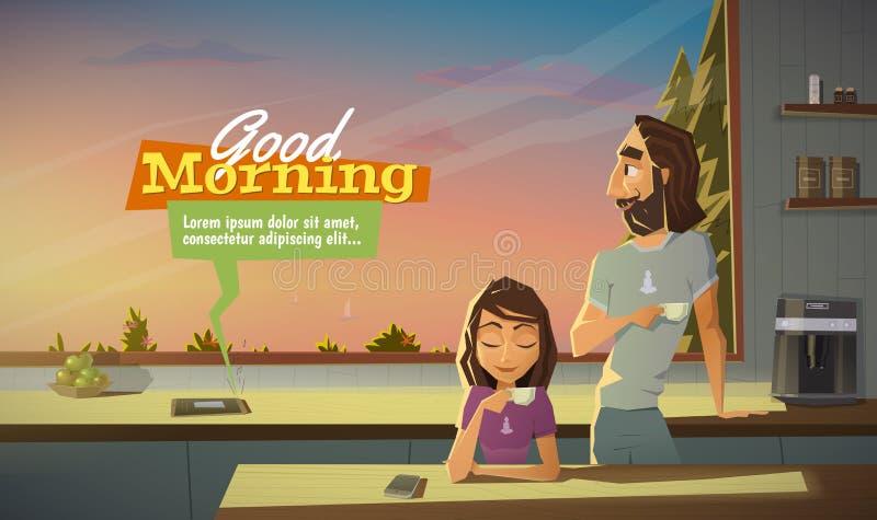 Buena mañana, café de la bebida con la familia ilustración del vector